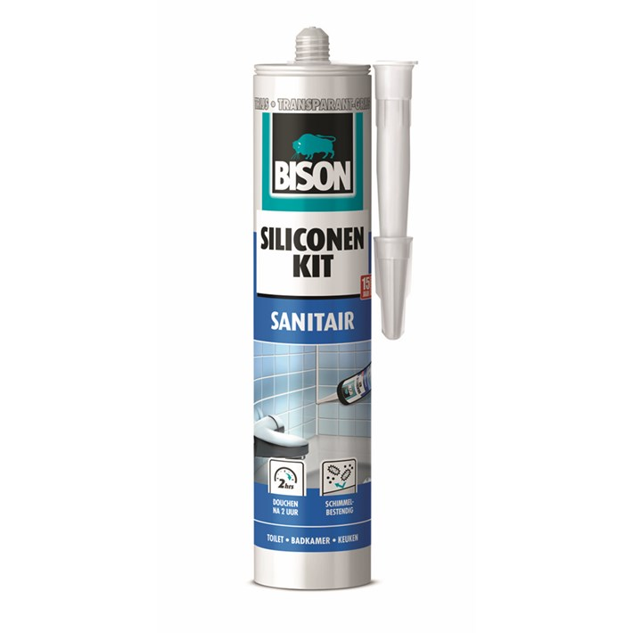 6307651 Bison Silicone Sealant Grey Transparent Cartridge 300 ml NL