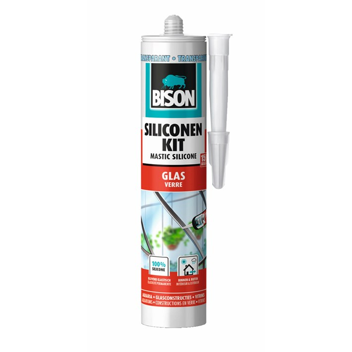 1491350 Bison Silicone Sealant Glass Transparent Cartridge 300 ml NL/FR
