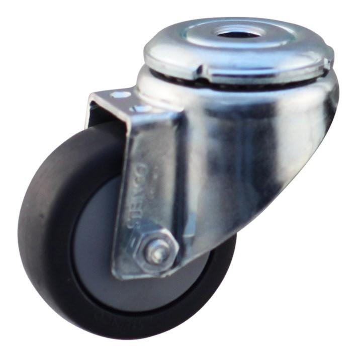 Protempo Apparatenwiel (zwenk) met boutgat met stalen gaffel, grijs TPE wiel