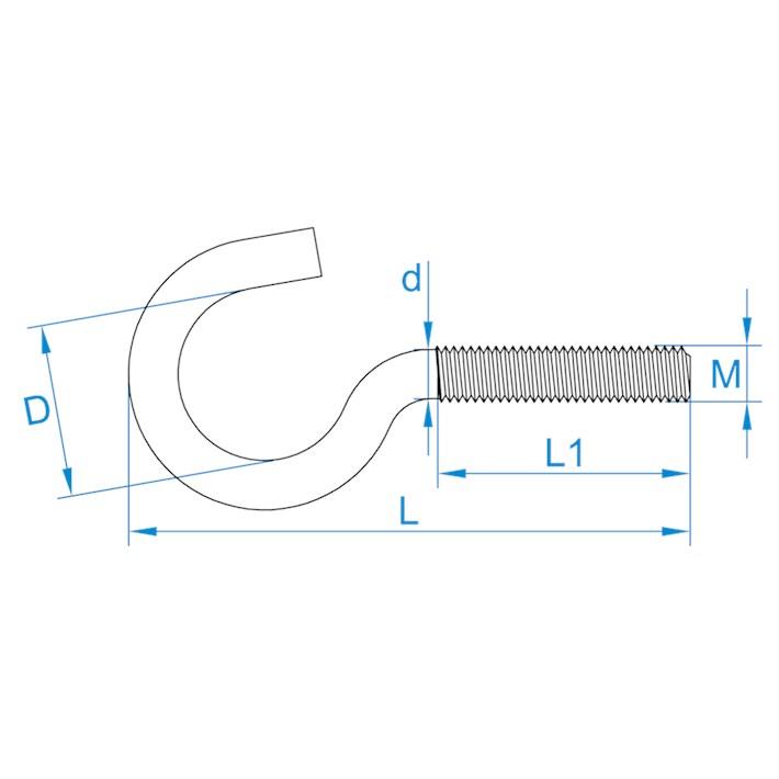 Schroefhaken metrisch | Cup-hooks metric | Gebogene Schraubhaken mit Eisengewinde | Crochets d'armoires métriques