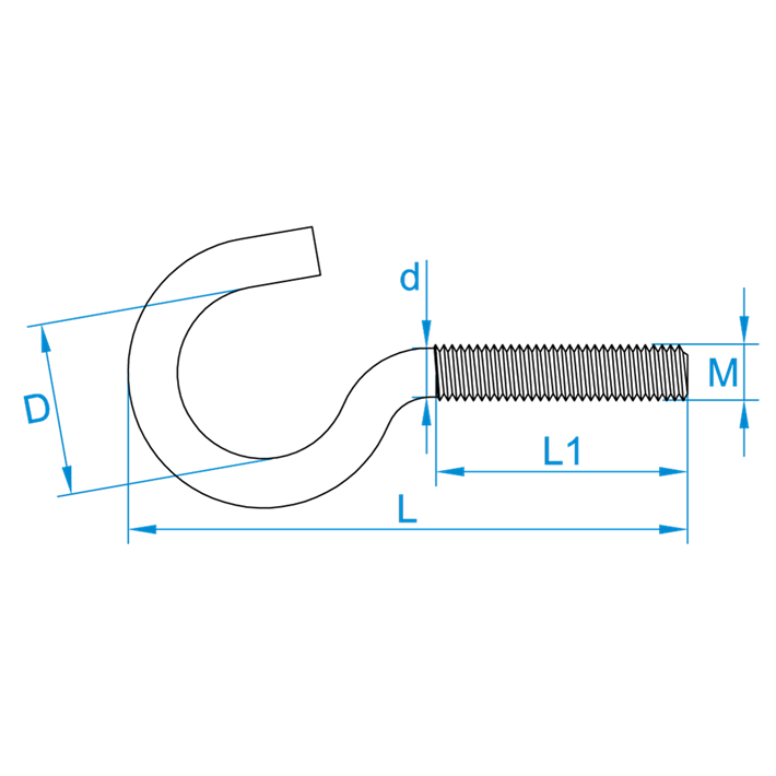 Schroefhaken metrisch tekening | Cup-hooks metric drawing | Gebogene Schraubhaken mit Eisengewinde Zeichnung | Crochets d'armoires métriques plan