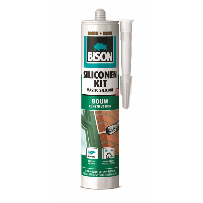 1491367 Bison Silicone Sealant Construction Brown Cartridge 300 ml NL/FR