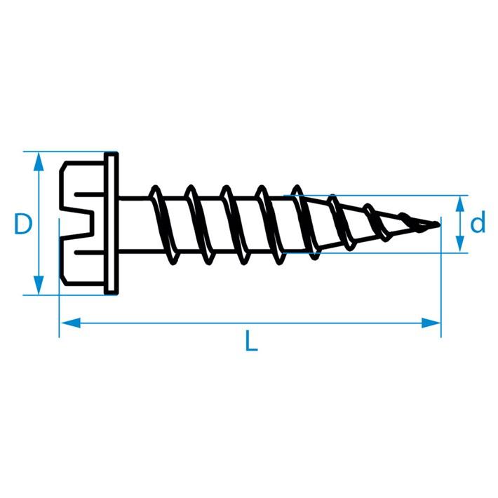Zelftappende schroeven zeskant/zaagsnede | Selftapping screws hexagon/slotted | Blechschrauben Sechskant/Schlitz | Vis autoradeuses hexagonaux/fente