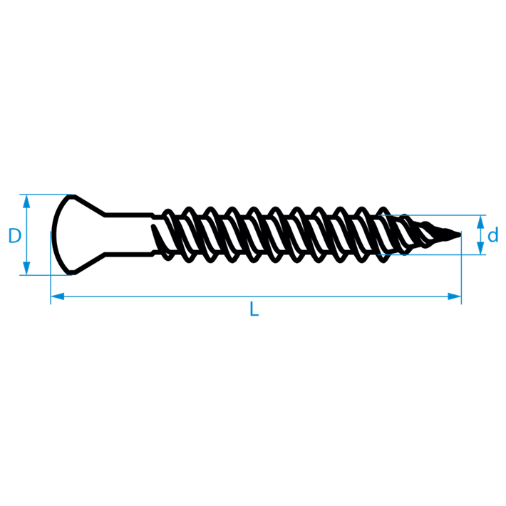 Snelbouwschroeven fijne draad conische kop tekening | Drywall screws fine thread trimhead drawing | Schnellbauschrauben Feingewinde Konischer Kopf Zeichnung | Vis à fixation rapide filetage fin tête conique plan
