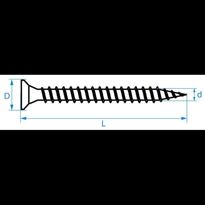 Spaanplaatschroeven platkop Pozidriv tekening | Chipboard screws countersunk head Pozidriv drawing | Spanplattenschrauben Senkkopf Pozidriv Zeichnung | Vis à bois tête fraisée Pozidriv plan
