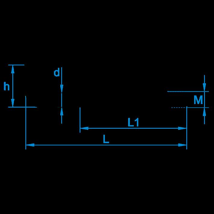 Schroefduimen metrisch tekening | Square hooks metric thread drawing | Gerade Schraubhaken Eisengewinde Zeichnung | Gonds à vis filetage métrique plan