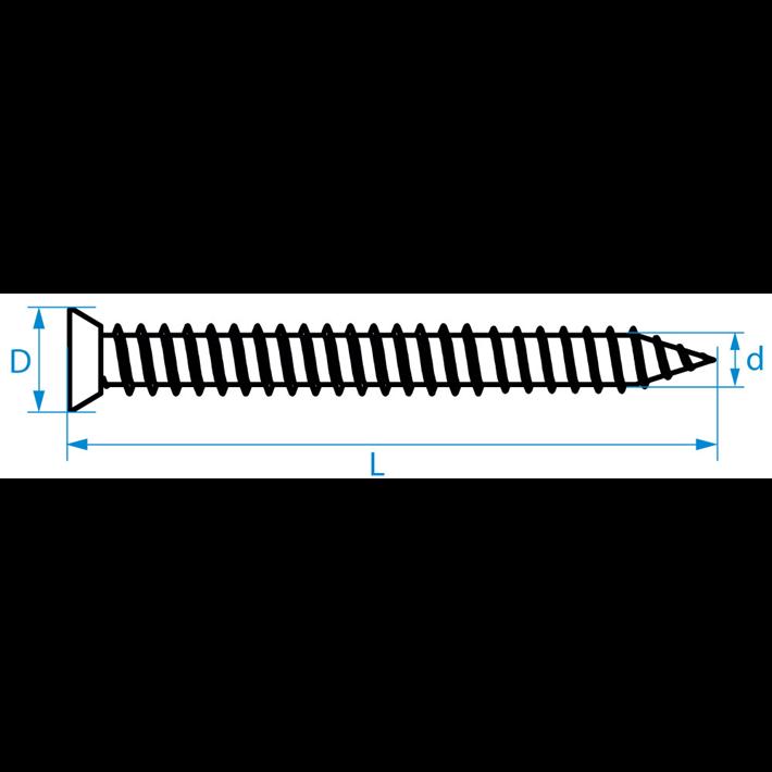 Kozijnschroeven platkop tekening | Frame fixing screws flat head drawing | Mauerschrauben Senkkopf Zeichnung | Vis cadre fenêtre tête fraisée plan
