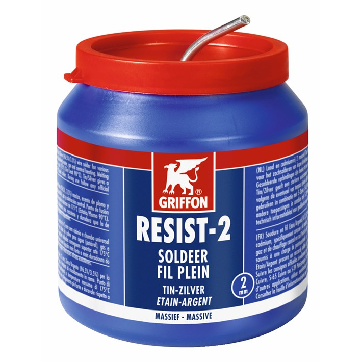1236290 Griffon Resist-2® Solder Wire Tin/Silver 97/3 Solid Ø 2.0 mm Container 500 g NL/FR