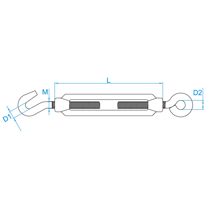Spanwartels tekening | Turnbuckles drawing | Spannschlösser Zeichnung | Tendeurs de cage plan